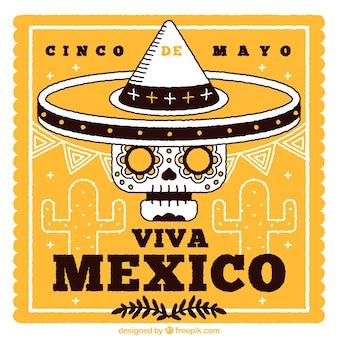 Hand gezeichnet mexikanischer Schädel Hintergrund