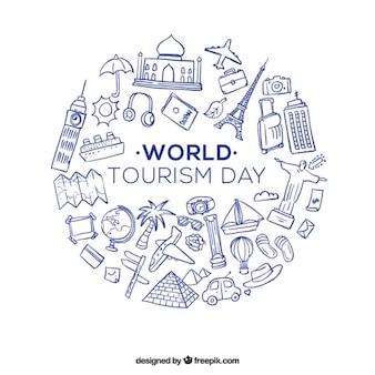 Hand gezeichnet Reiseutensilien für den Welttourismus Tag