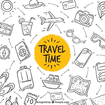 Hand gezeichnet Reisezeit Hintergrund