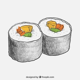 Hand gezeichnet sushi