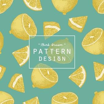 Hand gezeichnet Zitrone Muster Hintergrund