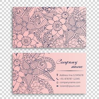 Hand gezeichnete Blumen Visitenkarte