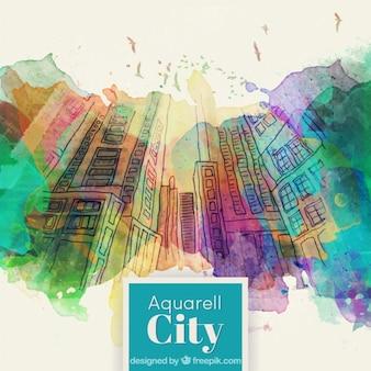 Hand gezeichnete Gebäude mit Aquarell Spritzer Hintergrund