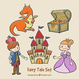 Hand gezeichnete Märchen Set