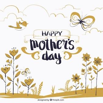 Hand gezeichnete Mutter Tag Hintergrund