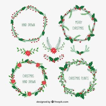 Hand gezeichnete Weihnachtskränze Sammlung