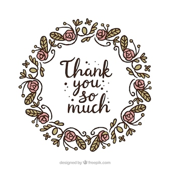 Hand gezeichneten Blumenkranz danken Ihnen Hintergrund