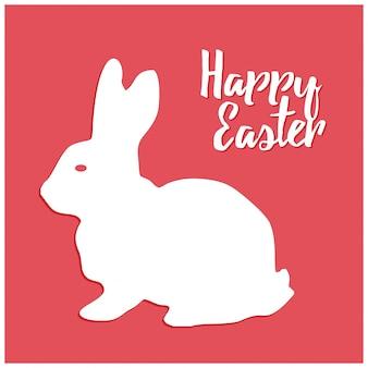 Hand gezeichneten farbigen Skizze von Ostern Kaninchen Vektor Jahrgang Linie Kunst Illustration auf rotem Hintergrund