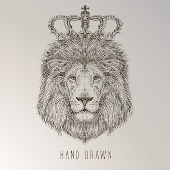 Hand gezeichneter Löwenkönig