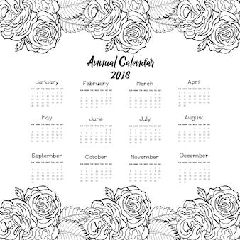 Hand gezeichneter Rosenkalender 2018