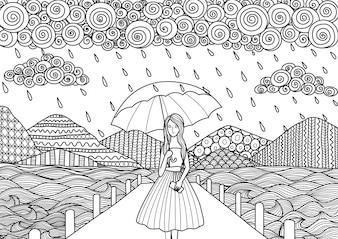 Hand gezeichnetes Mädchen unter dem Regen