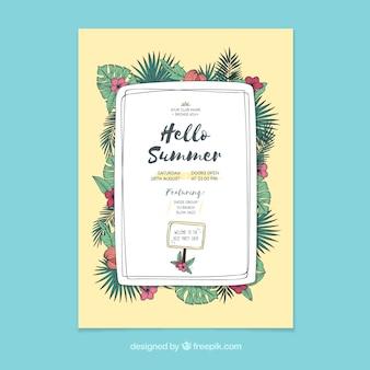 Hand gezeichnetes tropisches Sommerplakatplakat