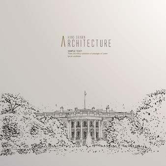 Hand gezeichnetes weißes Haus