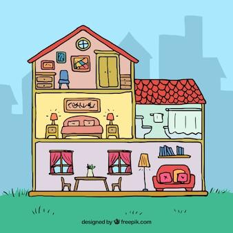 Hand gezeichnetes Zuhause innen