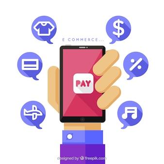 Hand hält Telefon und Einkaufssymbole mit flachem Design