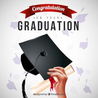 Hand Hintergrund mit einem Mortarboard und Diplom