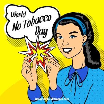 Hand Jahrgang Anti-Raucher-Tag Hintergrund gezeichnet