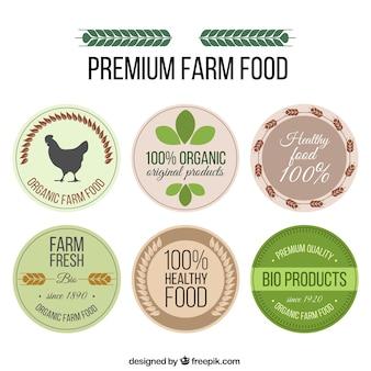 Hand zeichnen Premium-Bauernhof Lebensmittel-Etiketten