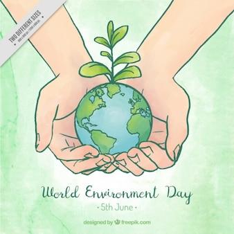 Hände halten Planeten Erde Hintergrund