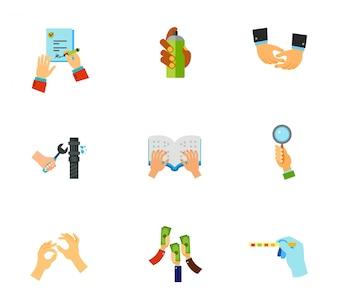 Hände Icon-Set