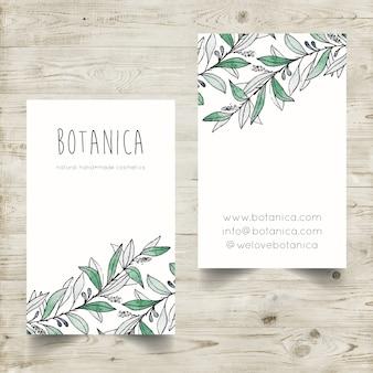 Handgemalte Aquarell-Visitenkarteschablone mit botanischen Elementen