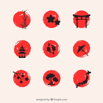 Handgemalte japanischen Elementen