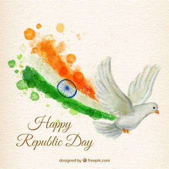 Handgemalte Taube mit einer Flagge der Tag der Republik