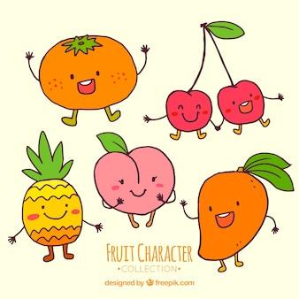 Handgezeichnete Auswahl von niedlichen Fruchtfiguren