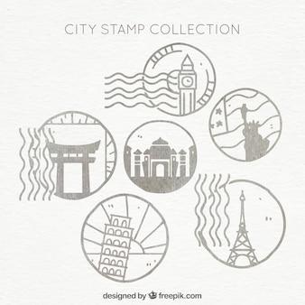 Handgezeichnete Auswahl von runden Stadtmarken