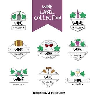 Handgezeichnete Auswahl von Weinetiketten