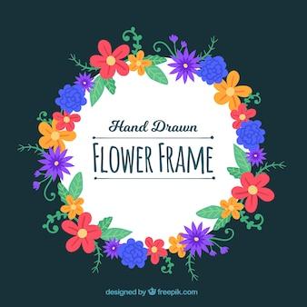 Handgezeichnete Blumenrahmen Hintergrund