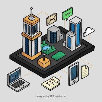 Handgezeichnete digitale Geräte und Gebäude
