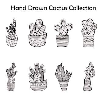 Handgezeichnete Kaktuskollektion