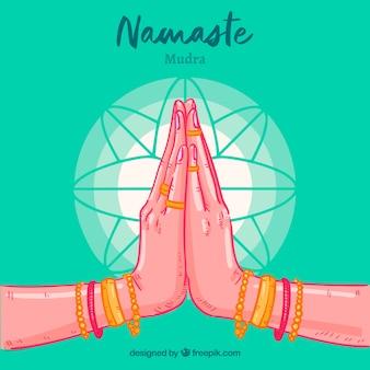 Handgezeichnete Namaste Gruß grünen Hintergrund