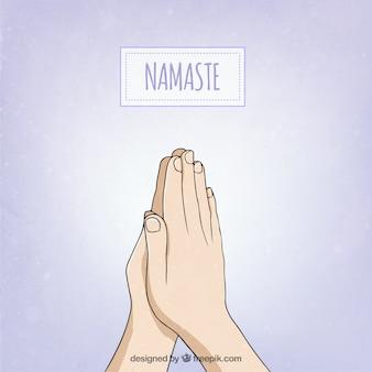 Handgezeichnete Namaste Haltung