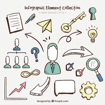 Handgezeichnete Packung von großen Infografik Elemente