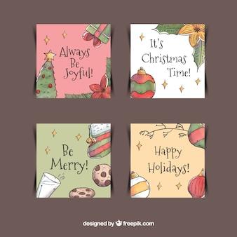 Handgezeichnete Packung Weihnachtskarten