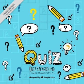 Handgezeichnete Quiz Hintergrund