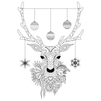Handgezeichnete Weihnachten Hirsch