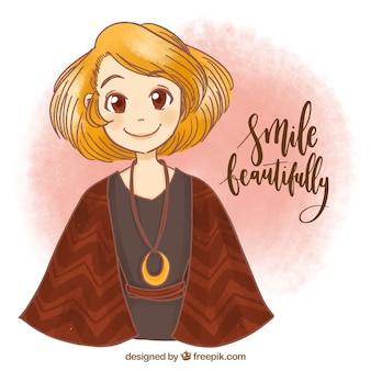 Handgezeichneten Hintergrund der jungen Frau lächelnd