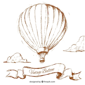 Handgezeichneten Jahrgang Ballon