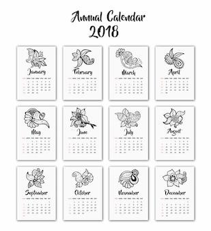 Handgezeichneten schwarzen und weißen Henna Design Kalender 2018