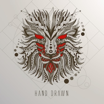 Handgezeichneter Drachenkopf