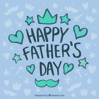 Handgezeichneter Hintergrund mit dekorativen Gegenständen für den Vatertag