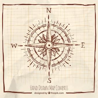 Handgezeichneter Kompass mit Rahmen
