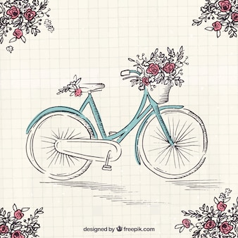 Handgezeichnetes Fahrrad mit schönen Blumen