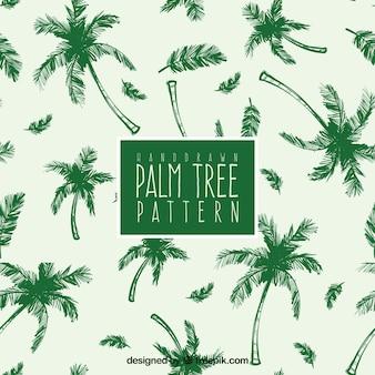 Handgezeichnetes Muster mit grünen Palmen