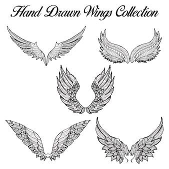 Handgezogene Schwarzweiss-Flügel-Sammlung