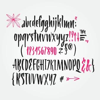 Handschriftliche Schriftschrift. Pinsel Schriftart. Großbuchstaben, Zahlen, Interpunktion