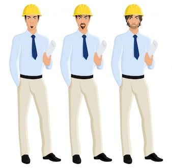 Handsome attraktive Männer Ingenieure Porträt in Helm mit Plan Papier isoliert Vektor-Illustration gesetzt